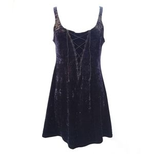 Velvet Black Dress • Vintage• Large